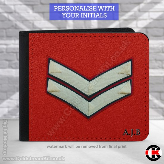 Lance Corporal's  (Guards) Rank, 2 Fold Faux Leather Wallet - FREE Initials printed