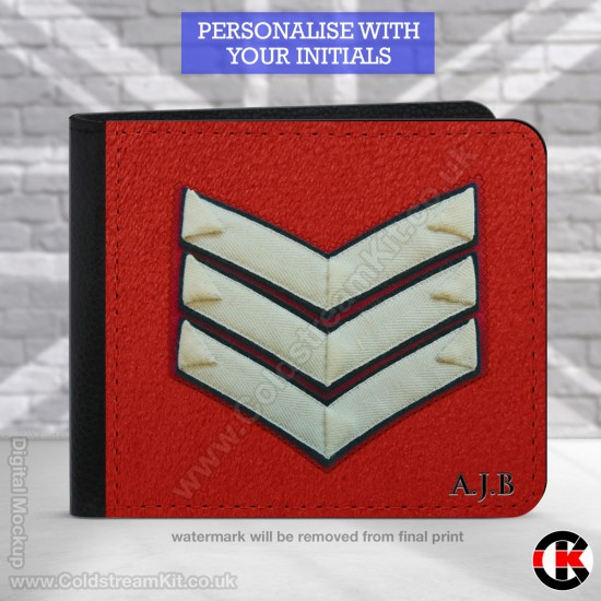 Lance Sergeant's  (Guards) Rank, 2 Fold Faux Leather Wallet - FREE Initials printed