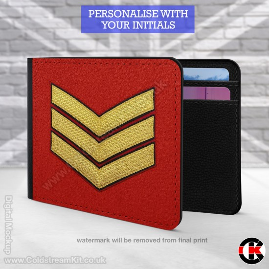 Sergeant's  (Guards) Rank, 2 Fold Faux Leather Wallet - FREE Initials printed