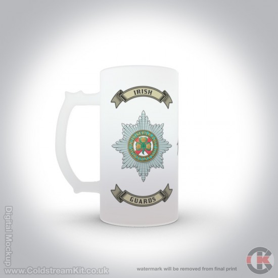 Irish Guards 16oz Frosted Beer Stein (Military Insignia)