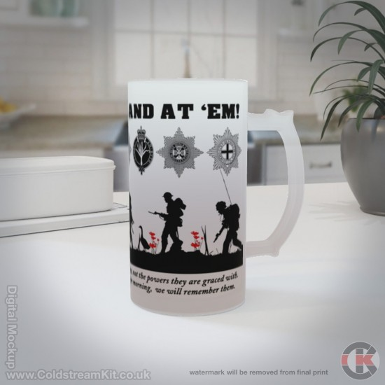 Up Guards and at 'em 16oz Frosted Beer Stein (Military Insignia)