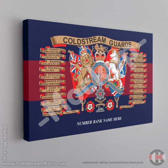 Coldstream Guards Battle Honours Canvas (Emblazon) FREE Personalisation