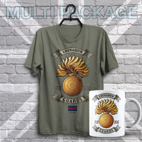 Mug & TShirt Package, Retro Grenadier (Grenade) Guards Design