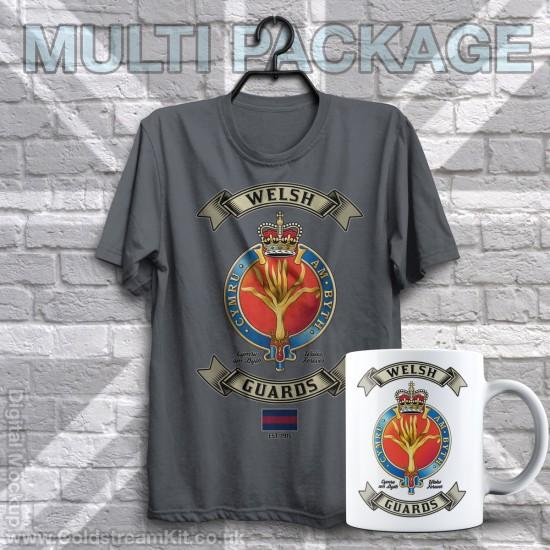 Mug & TShirt Package, Retro Welsh Guards Design