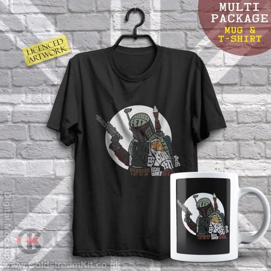Multi-Package (save over £5) Boba Fett, Calligram (Mug & T-Shirt Package) 20% off!