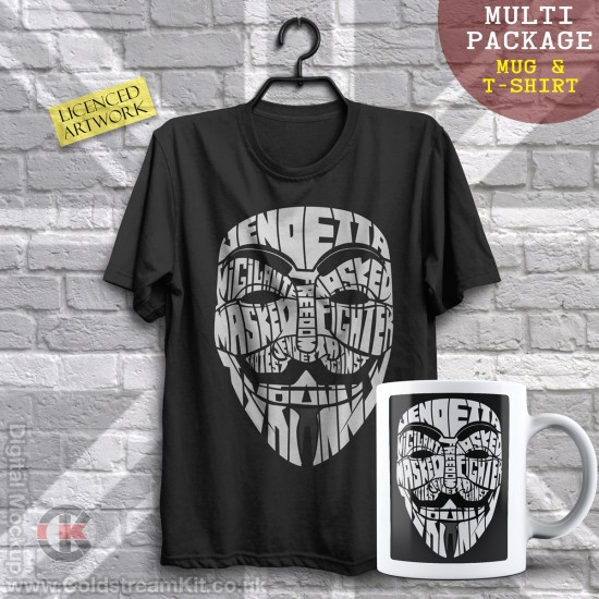 Multi-Package (save over £5) Vendetta, Calligram (Mug & T-Shirt Package) 20% off!