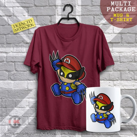 Multi-Package (save over £5) Wolverine Mario, Mashup (Mug & T-Shirt Package) 20% off!