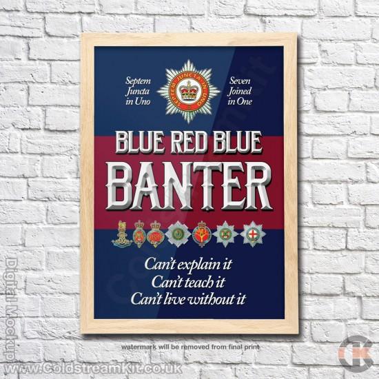 Poster Print, BlueRedBlue Banter, A4, A3, A2 Framed or Unframed