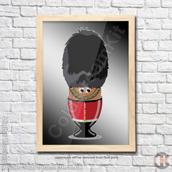Poster Print, Boiled Egg Soldiers, Scots Guards, A4, A3, A2 Framed or Unframed