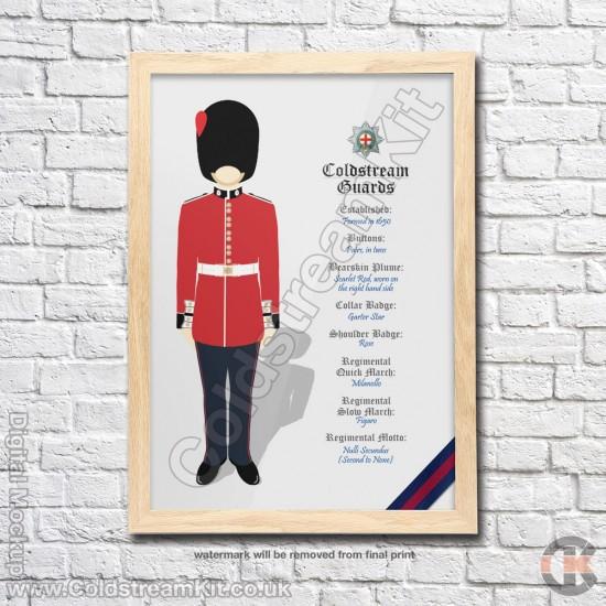 Poster Print, Coldstream Guards Regimental Information, A4, A3, A2 Framed or Unframed