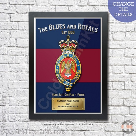 Poster Print, Blues and Royals, A4, A3, A2 Framed or Unframed