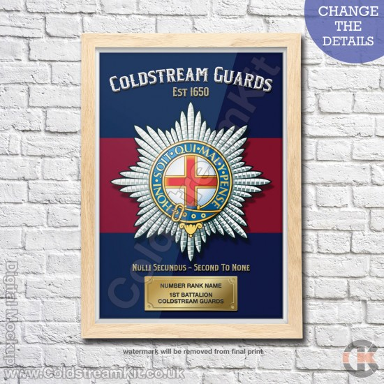 Poster Print, Coldstream Guards, A4, A3, A2 Framed or Unframed