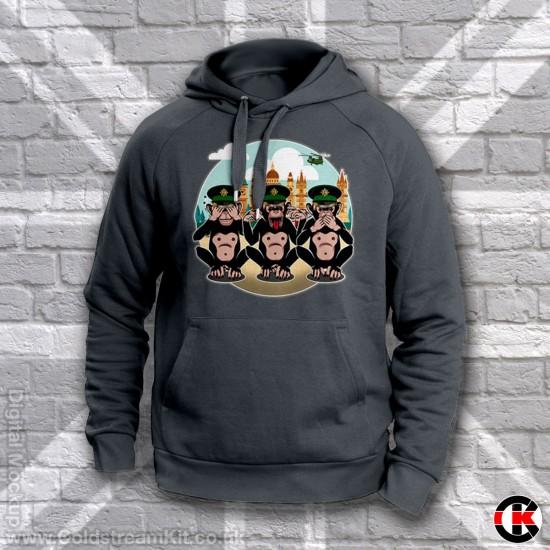 3 Wise Monkeys Hoodie, Irish Guards - See, Hear, Speak no Evil