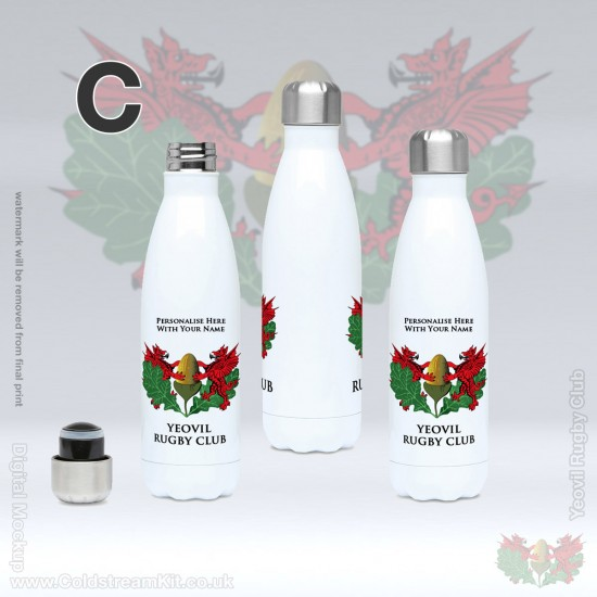 500ml Stainless Steel Water Bottle - Yeovil Rugby Club (FREE Personalisation)