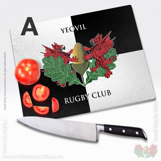 Glass Chopping Board 39cm by 28cm - Yeovil Rugby Club (FREE Personalisation)