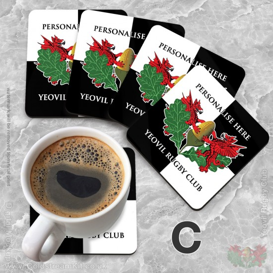 Hardboard Coasters 102 x 102mm (set of 4) - Yeovil Rugby Club (FREE Personalisation)