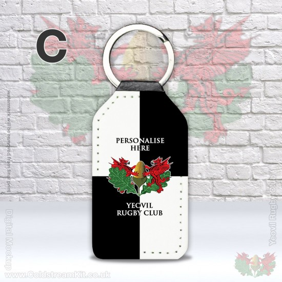 Faux Leather Rectangle Keyring - Yeovil Rugby Club (FREE Personalisation)