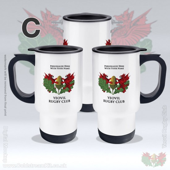 Stainless Steel White Thermos Travel Mug - Yeovil Rugby Club (FREE Personalisation)