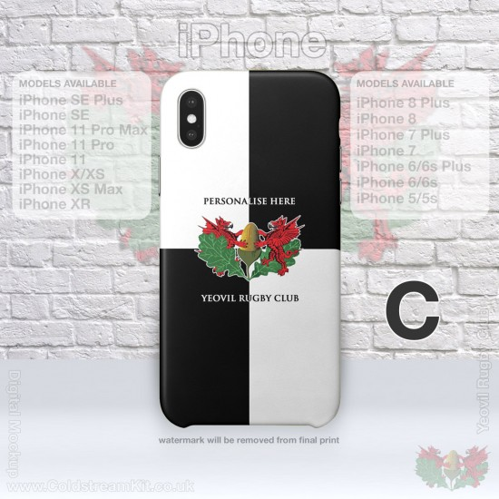 iPhone Phone Cover - 3D Print Tough Case, - Yeovil Rugby Club (FREE Postage & Personalisation)